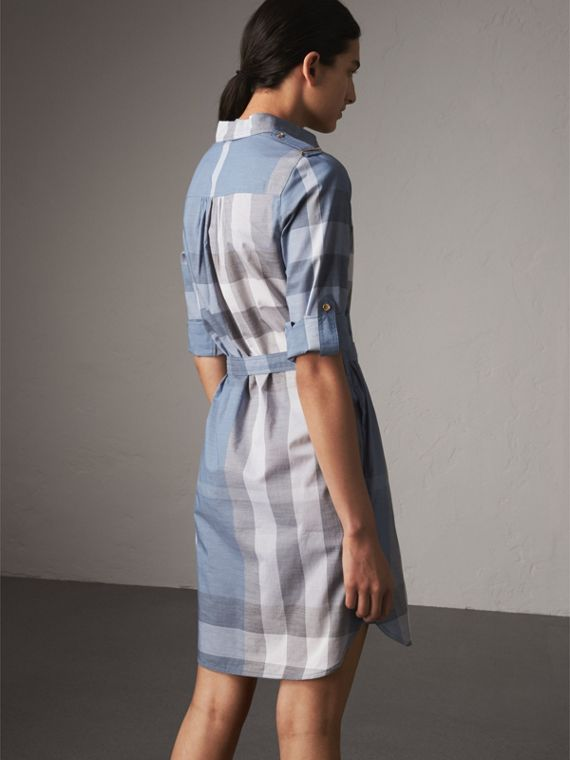 Tie-waist Check Cotton Shirt Dress in Canvas Blue - Women | Burberry - cell image 2
