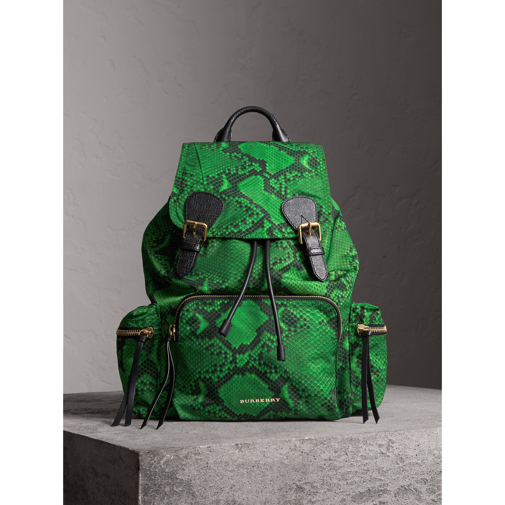 The Large Rucksack in Python Print Nylon and Leather in Green - Women | Burberry - gallery image 1