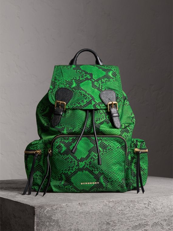 The Large Rucksack in Python Print Nylon and Leather in Green - Women | Burberry