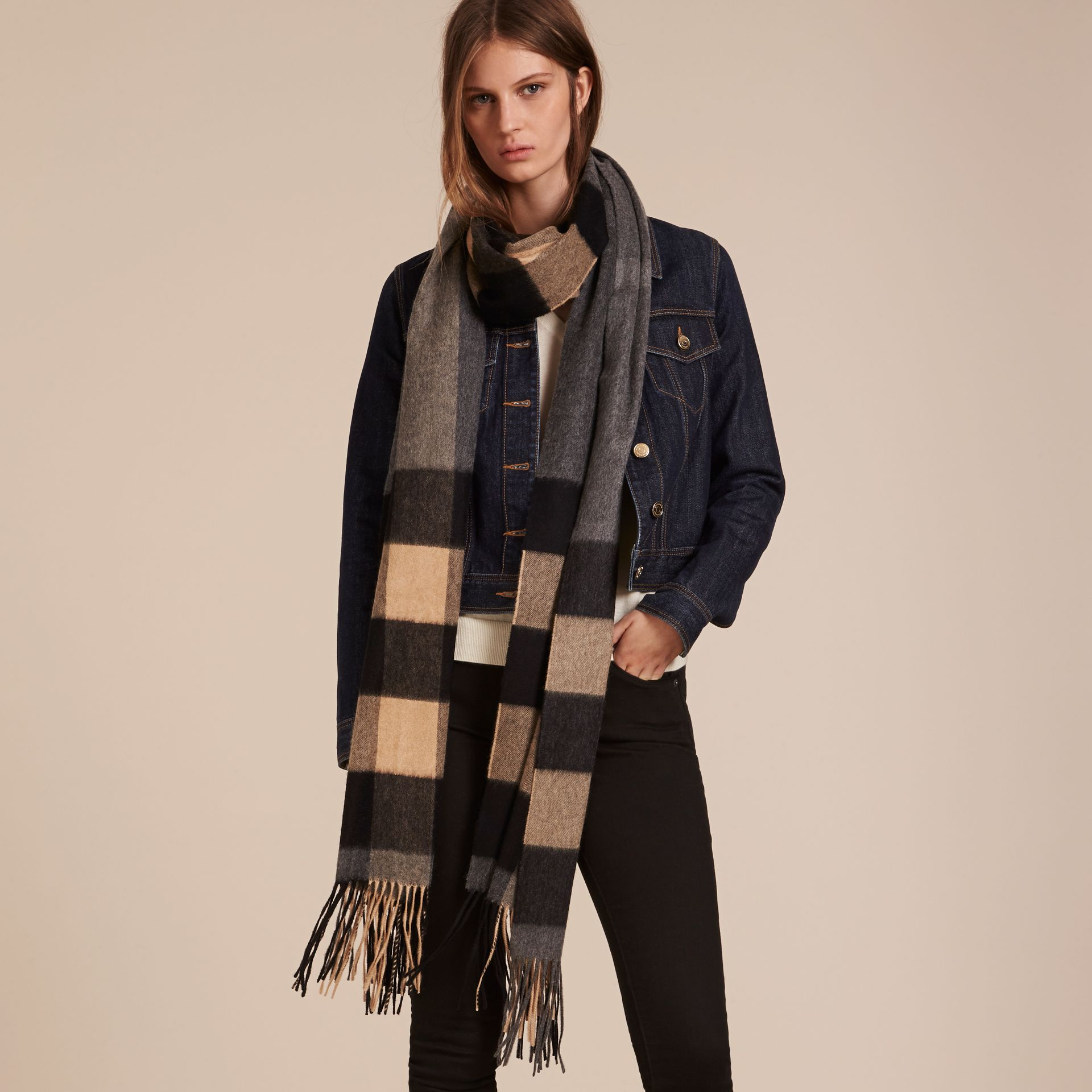 Mid grey/camel Oversize Check Cashmere Scarf Mid Grey/camel - gallery image 3