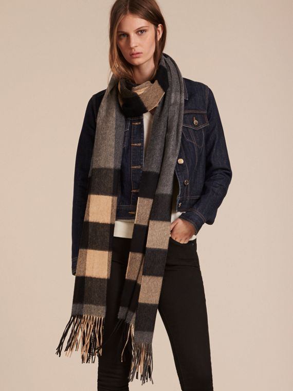 Mid grey/camel Oversize Check Cashmere Scarf Mid Grey/camel - cell image 2
