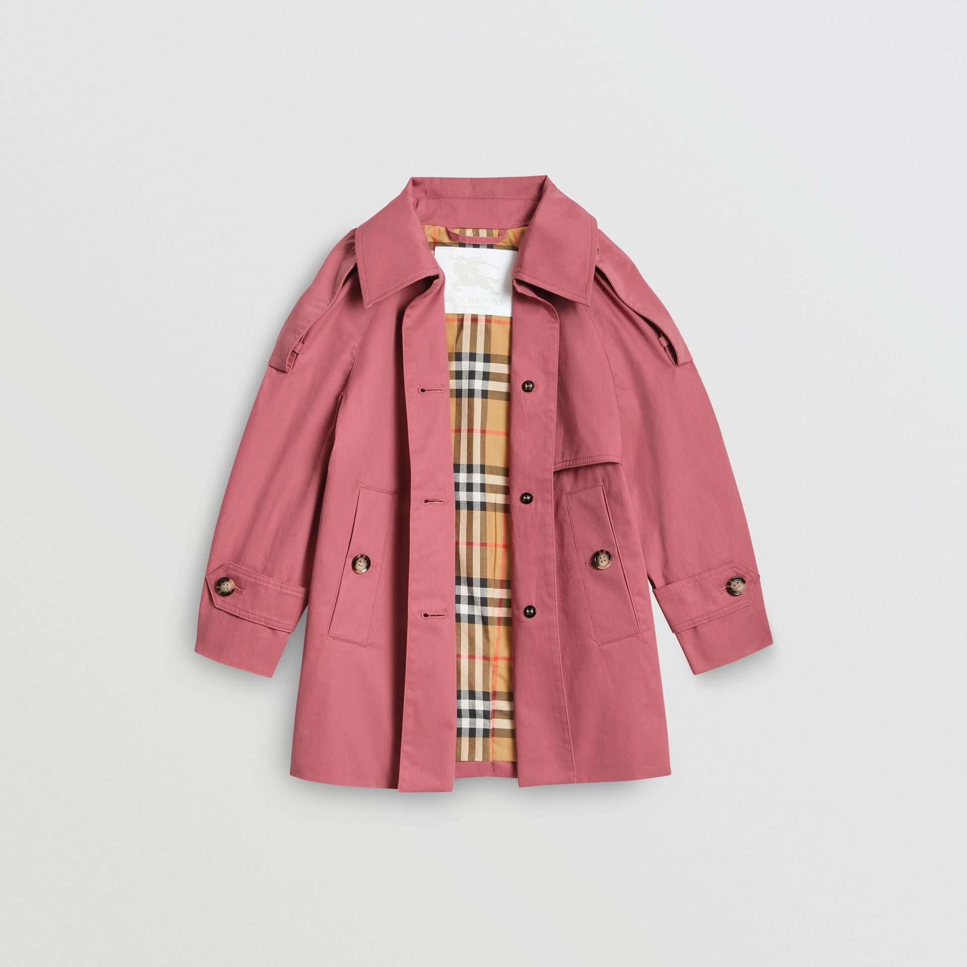 Showerproof Cotton Reconstructed Trench Coat in Rose Pink | Burberry United Kingdom - gallery image 3