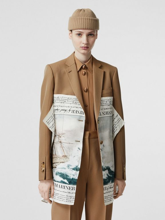 Mariner Print Scarf Detail Wool Blend Tailored Jacket in Camel - Women | Burberry United Kingdom - cell image 1