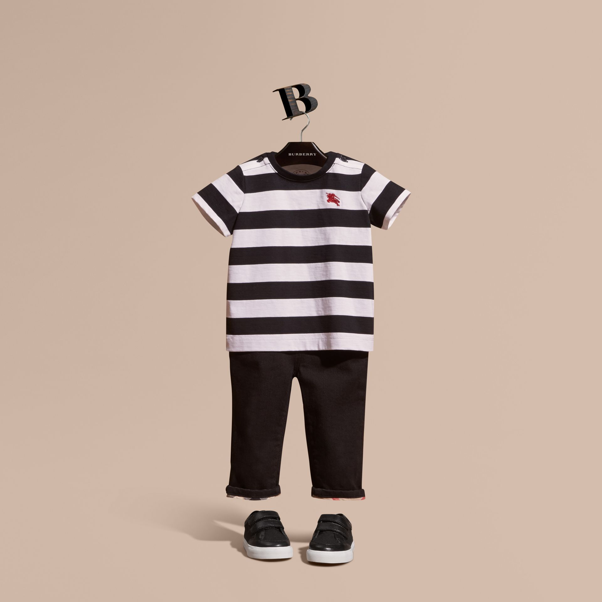 Black Striped Cotton T-shirt Black - gallery image 1