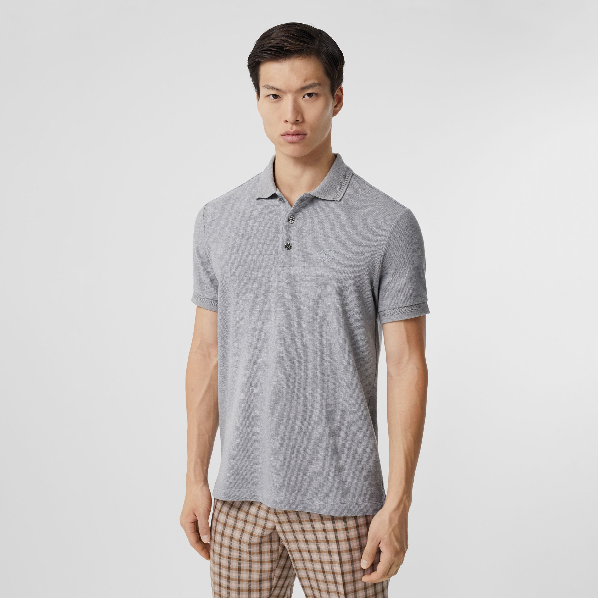 Button Detail Cotton Piqué Polo Shirt in Pale Grey Melange - Men | Burberry - 1