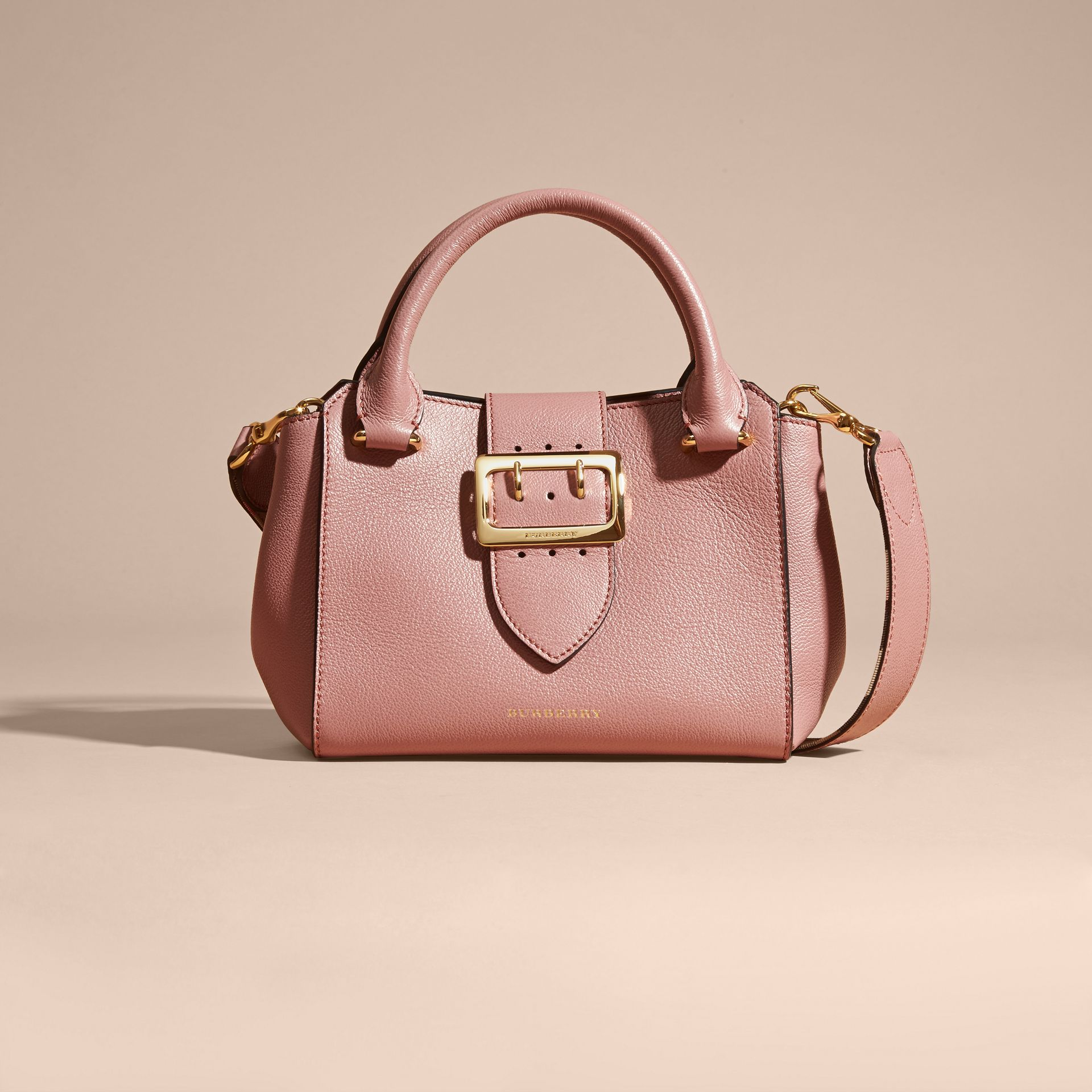 The Small Buckle Tote in Grainy Leather Dusty Pink - gallery image 9