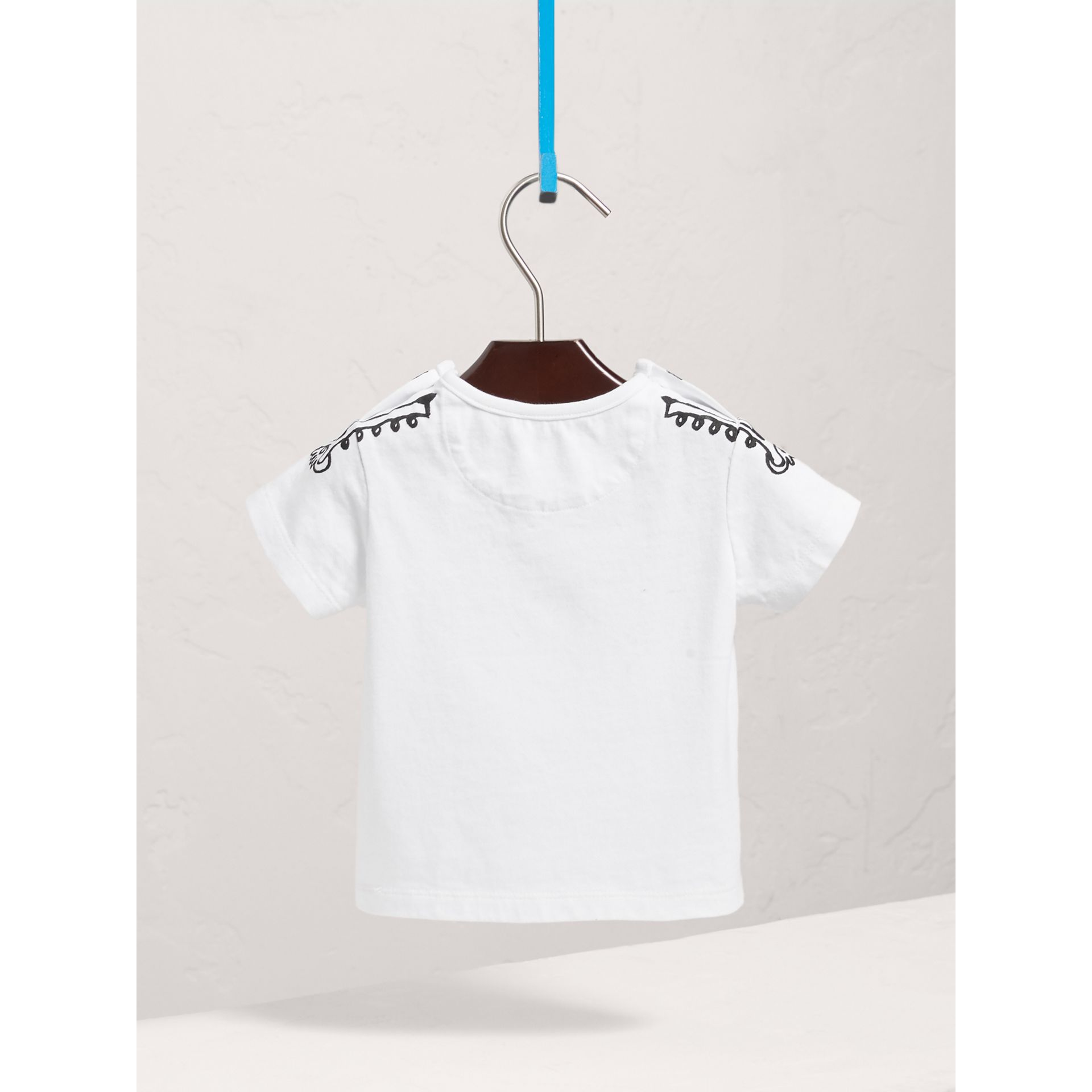 Attention Print Cotton T-shirt in White | Burberry United States - gallery image 3