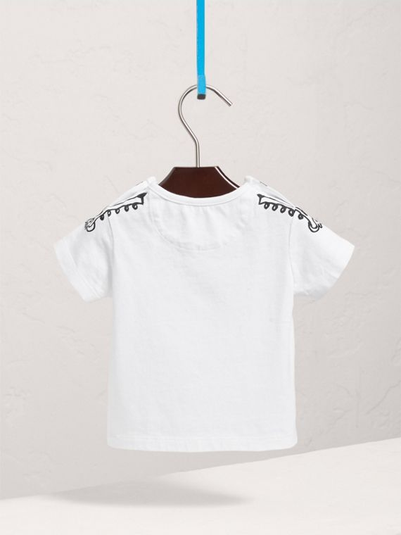 Attention Print Cotton T-shirt in White | Burberry - cell image 3