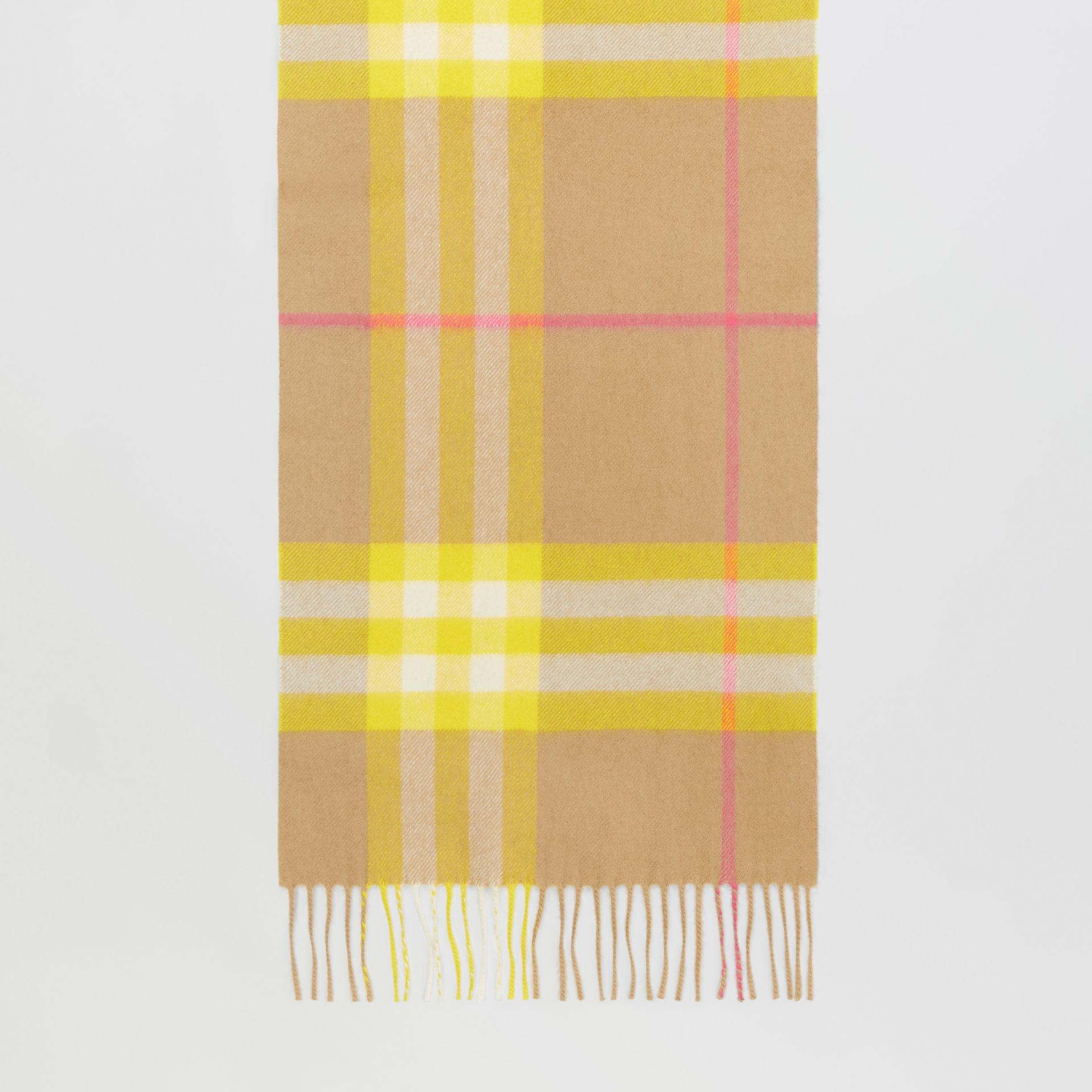 The Classic Check Cashmere Scarf in Archive Beige/yellow | Burberry Canada - gallery image 3