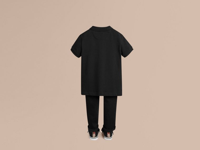 Check Placket Polo Shirt in Black - cell image 2