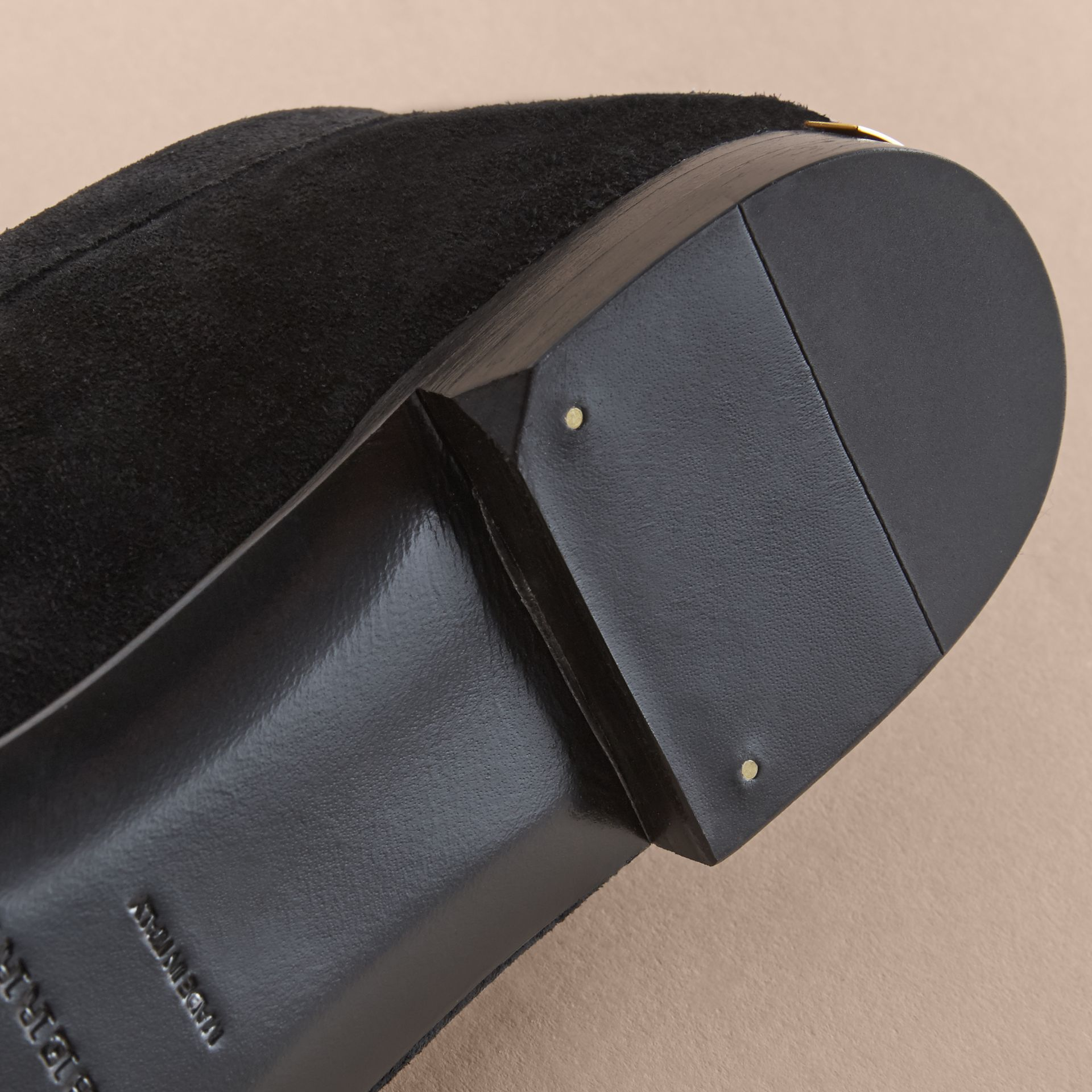 Tasselled Suede Loafers in Black - Women | Burberry Canada - gallery image 5
