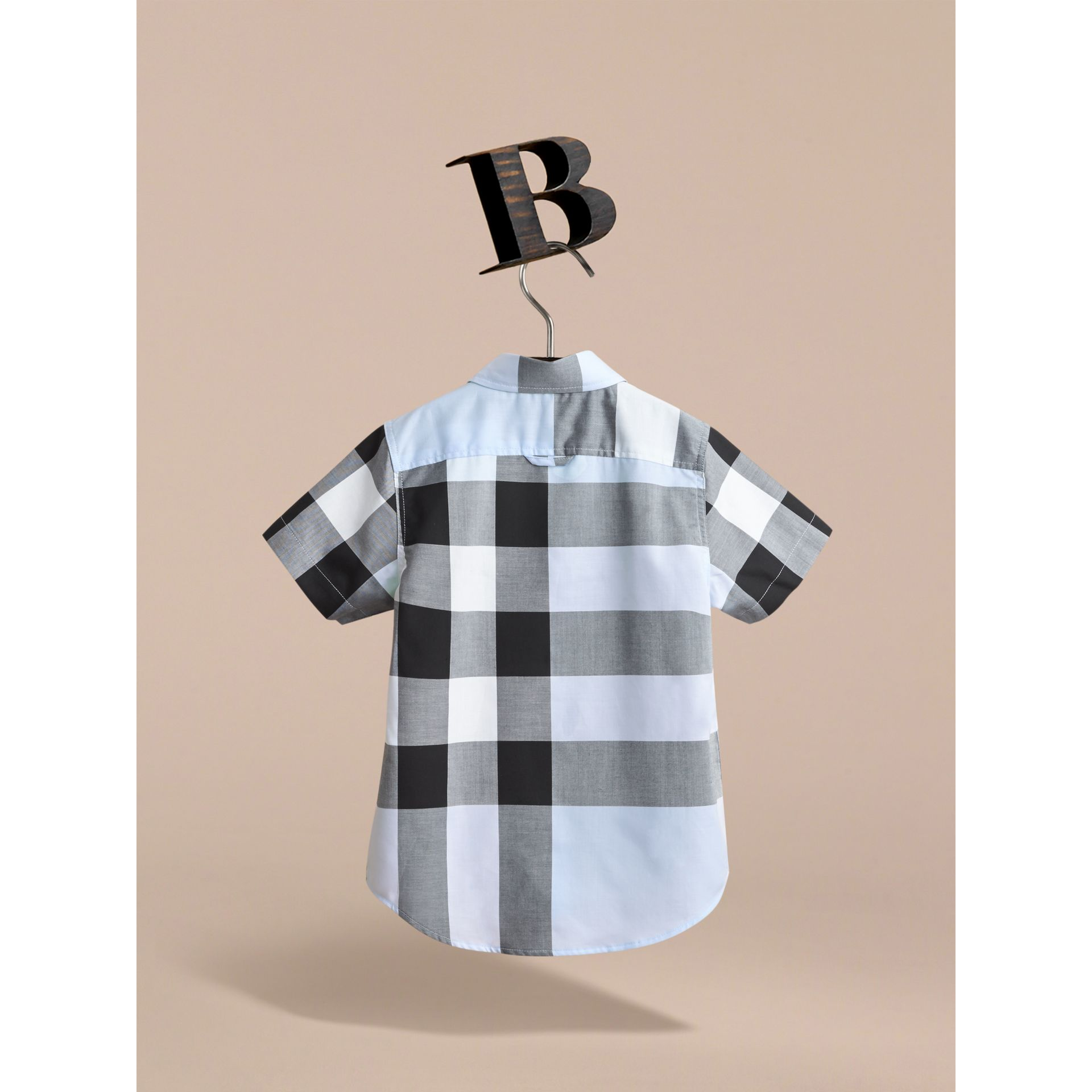 Short-sleeve Check Cotton Shirt in Sky Blue - gallery image 3
