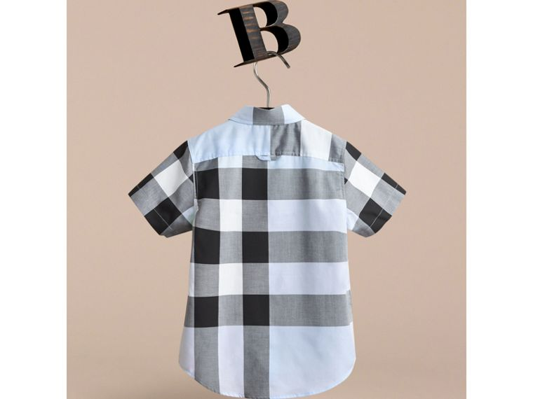 Short-sleeve Check Cotton Shirt in Sky Blue - cell image 2