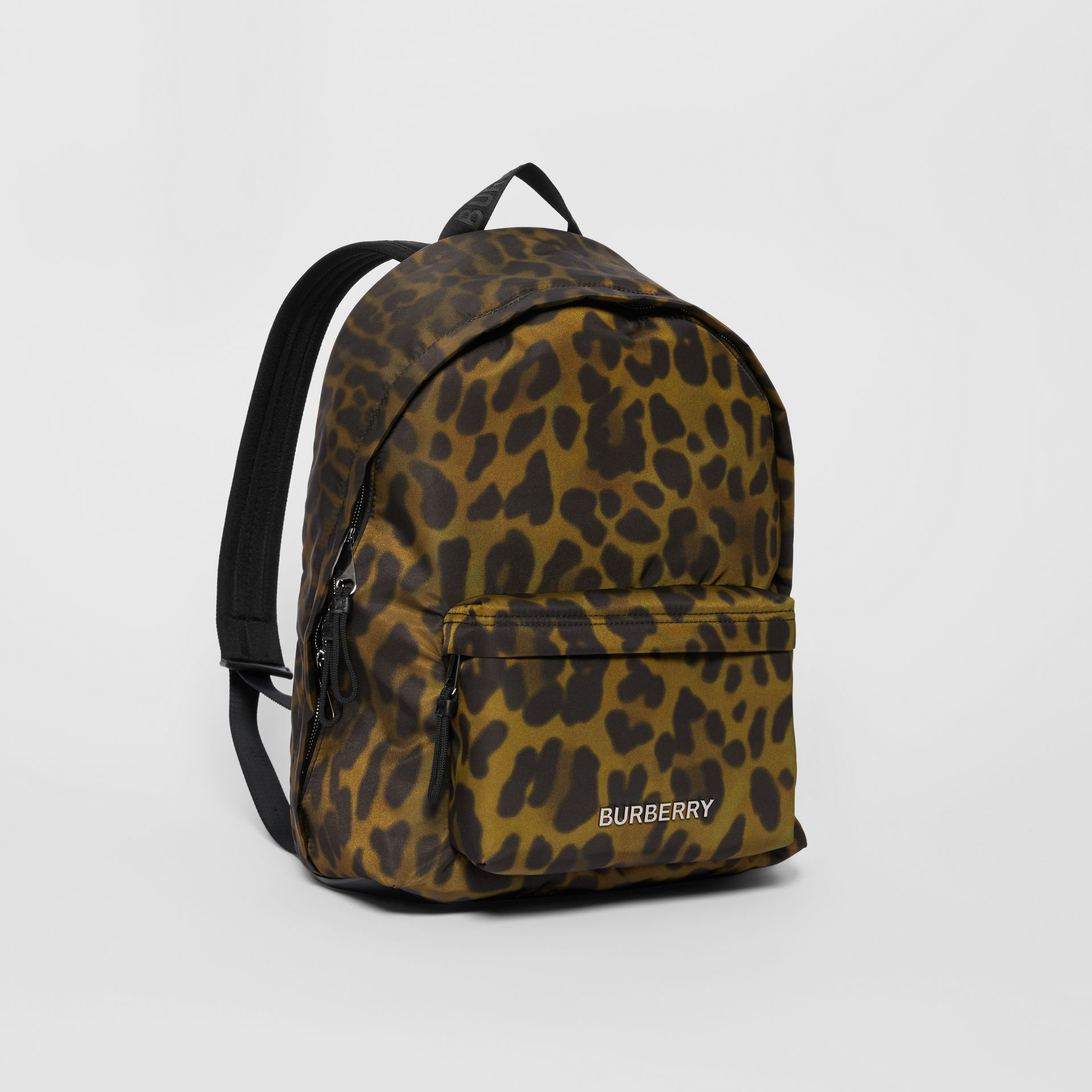 Leopard Print Nylon Backpack in Khaki Green | Burberry - gallery image 6