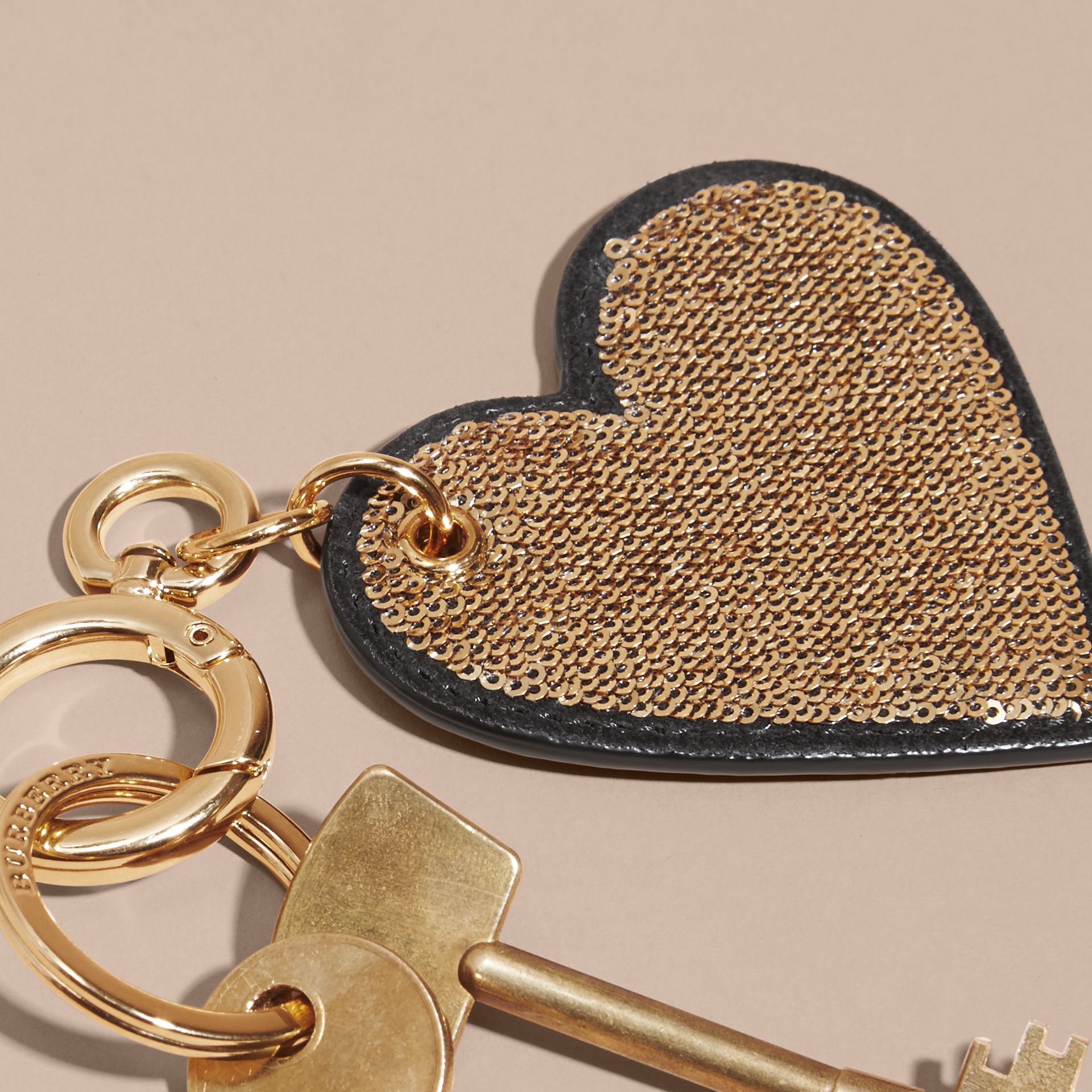 Sequinned Heart Key Charm in Gold/black - gallery image 2