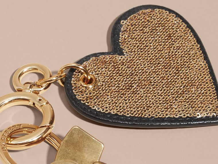 Sequinned Heart Key Charm - cell image 1