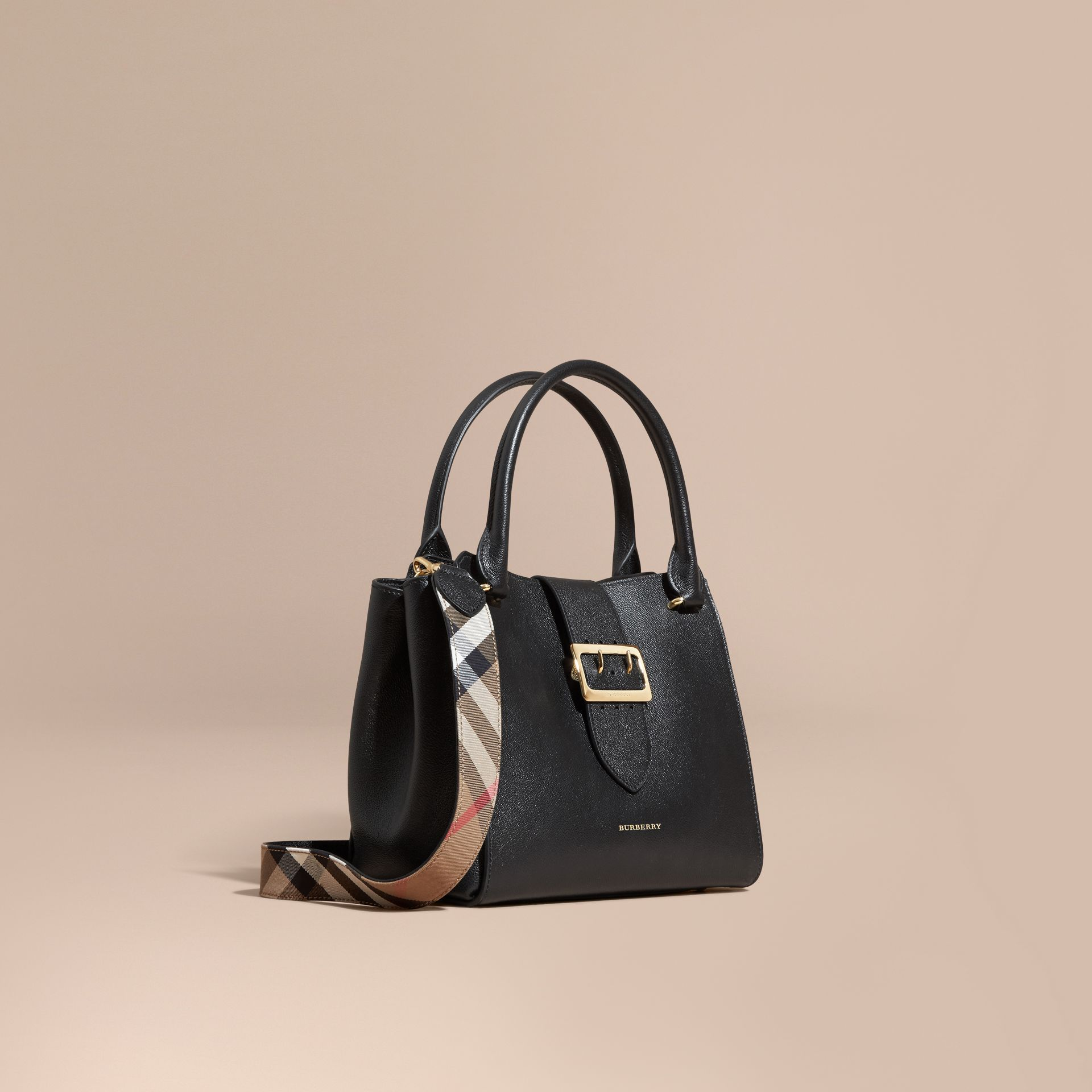 Black The Medium Buckle Tote in Grainy Leather Black - gallery image 1