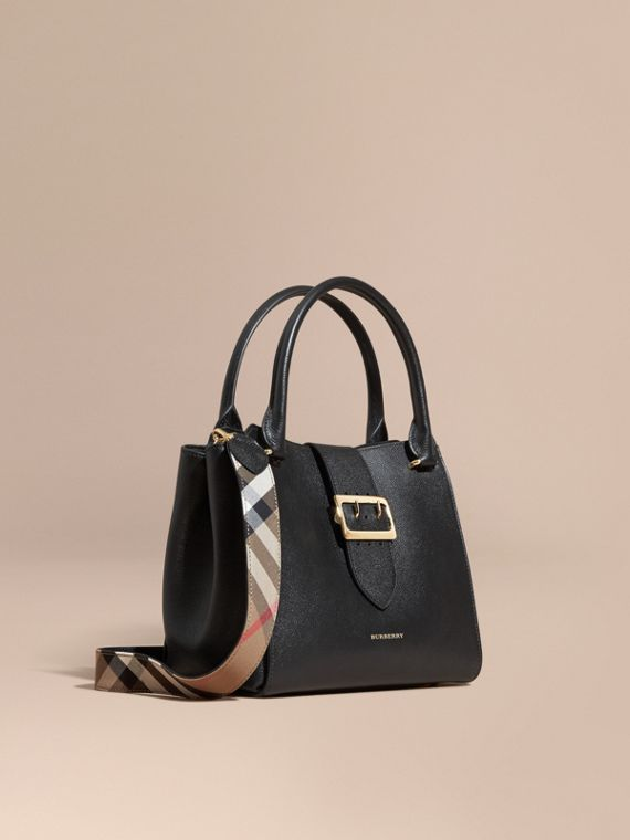 Borsa tote The Buckle media in pelle a grana Nero