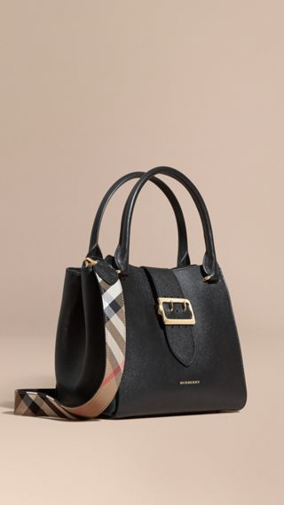 Borsa tote The Buckle media in pelle a grana