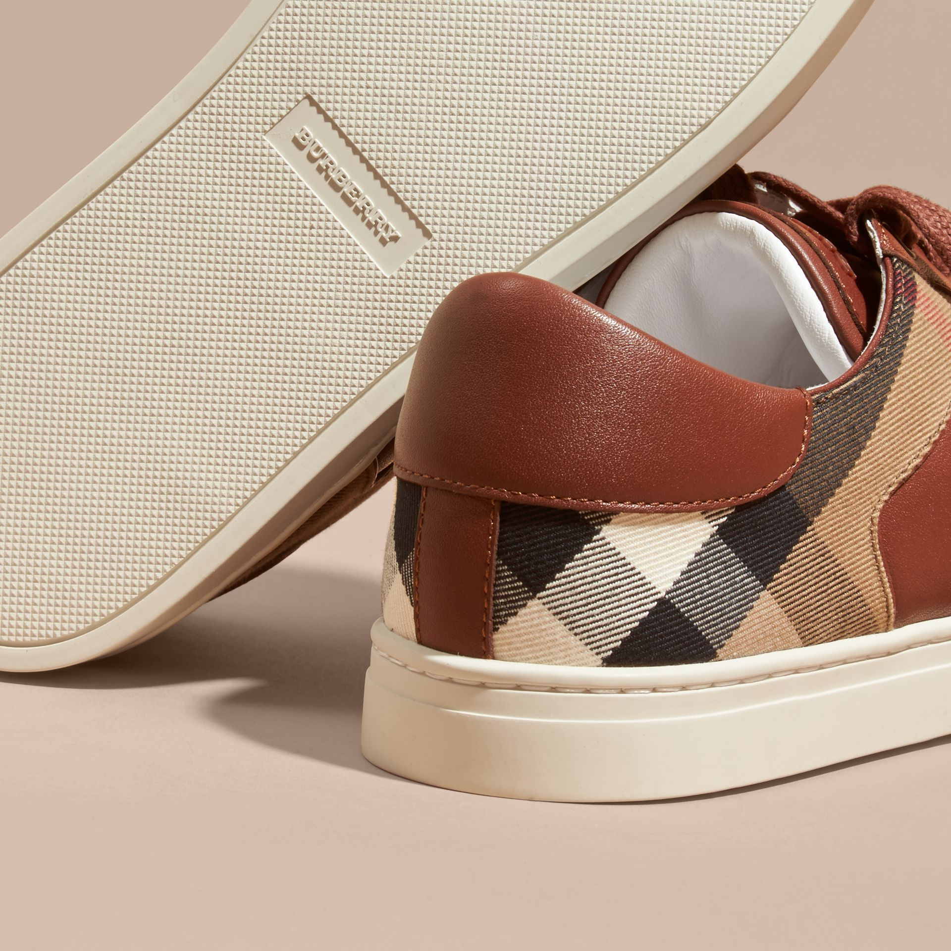 Leather and House Check Trainers in Check/bright Camel - gallery image 5
