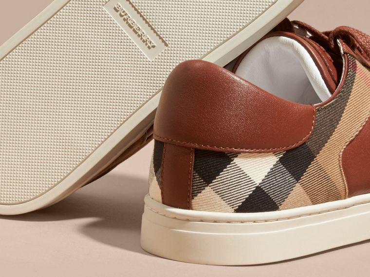 Leather and House Check Trainers in Check/bright Camel - cell image 4