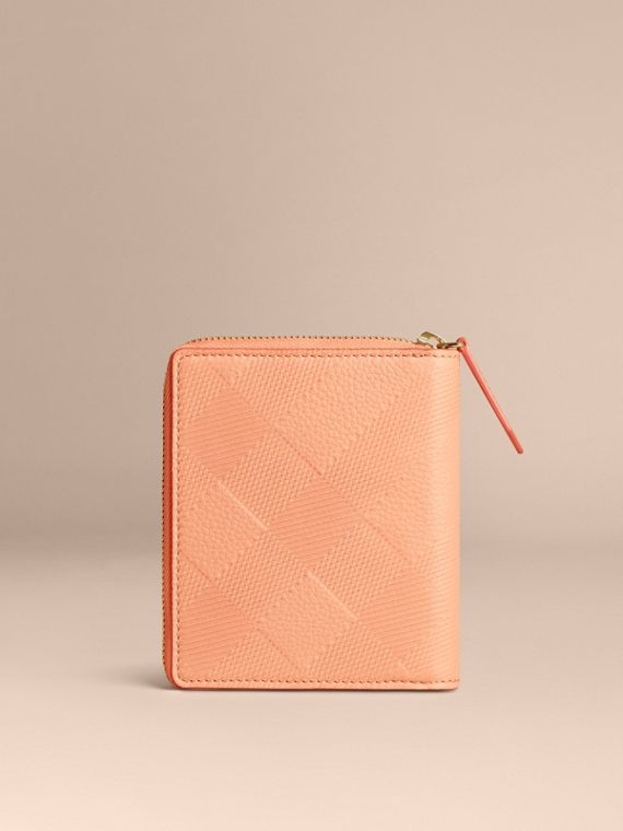 Pink apricot Ziparound Embossed Check Grainy Leather Mini Notebook Pink Apricot - cell image 3
