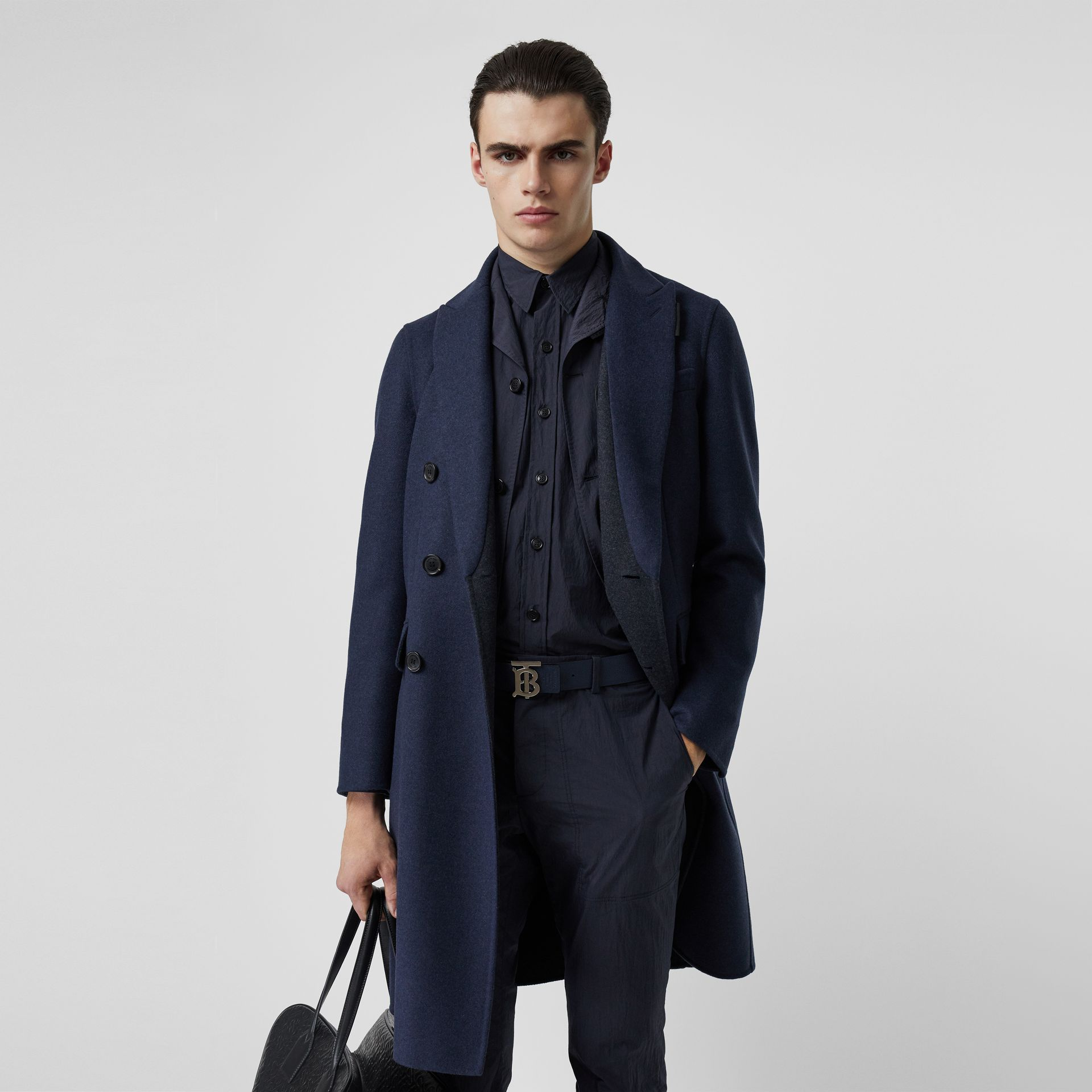 Double-faced Wool Cashmere Tailored Coat in Steel Blue Melange - Men | Burberry Hong Kong S.A.R - gallery image 4