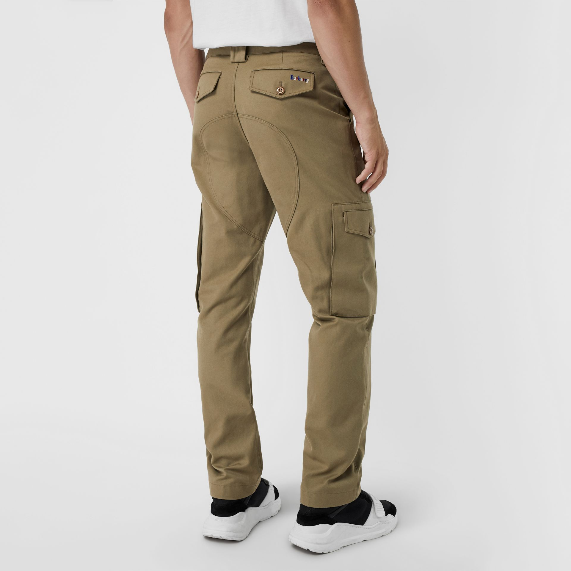 Technical Cotton Twill Cargo Trousers in Khaki - Men | Burberry United Kingdom - gallery image 2