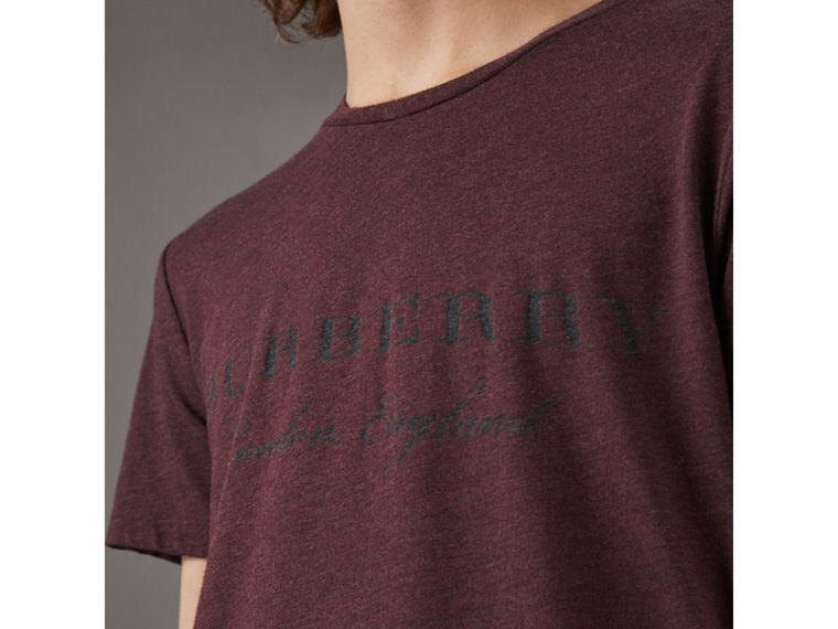 Devoré Cotton Jersey T-shirt in Deep Claret Melange - Men | Burberry - cell image 1