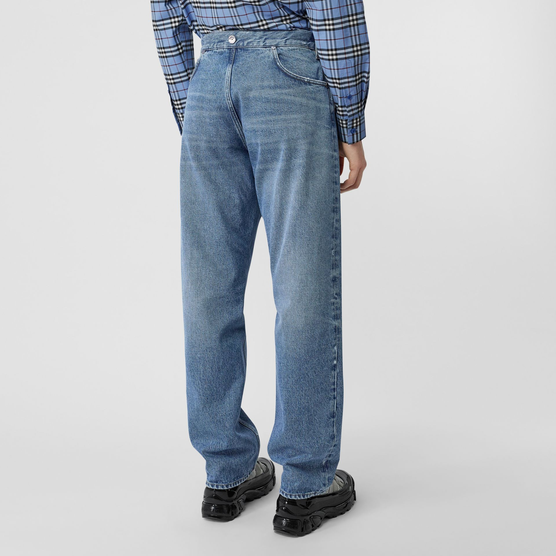 Straight Fit Deconstructed Jeans in Vintage Blue - Men | Burberry United Kingdom - gallery image 6
