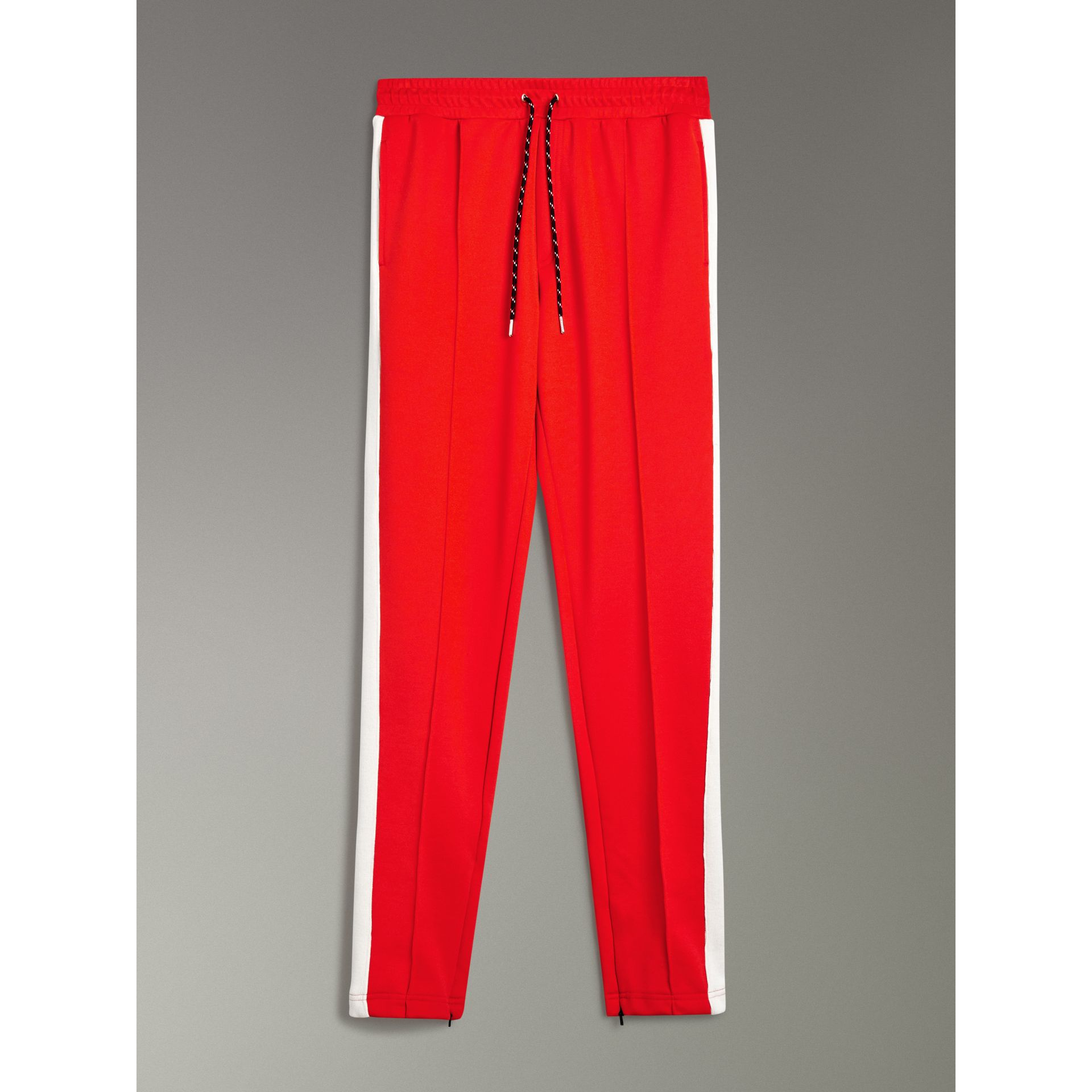 Sport Stripe Cotton Blend Drawcord Trousers in Bright Red - Men | Burberry Australia - gallery image 3