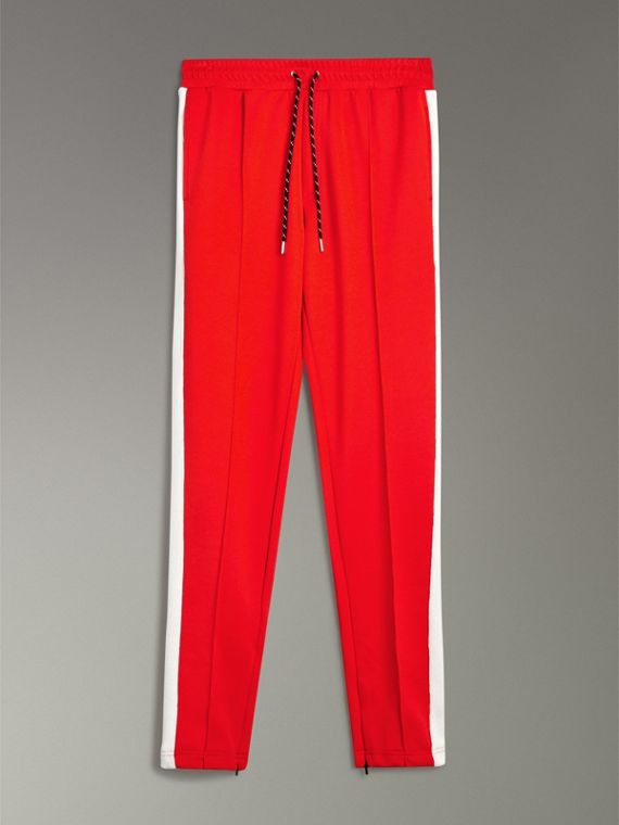 Sport Stripe Cotton Blend Drawcord Trousers in Bright Red - Men | Burberry Singapore - cell image 3