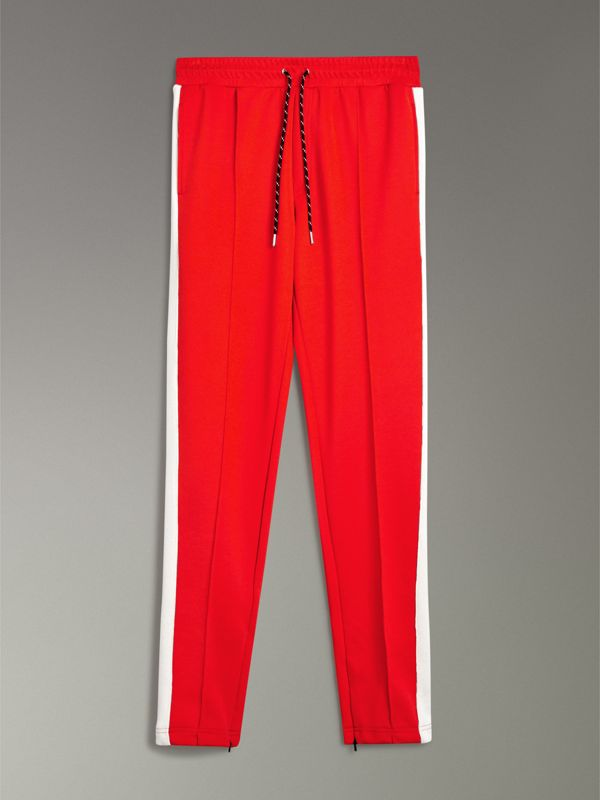 Sport Stripe Cotton Blend Drawcord Trousers in Bright Red - Men | Burberry Australia - cell image 3