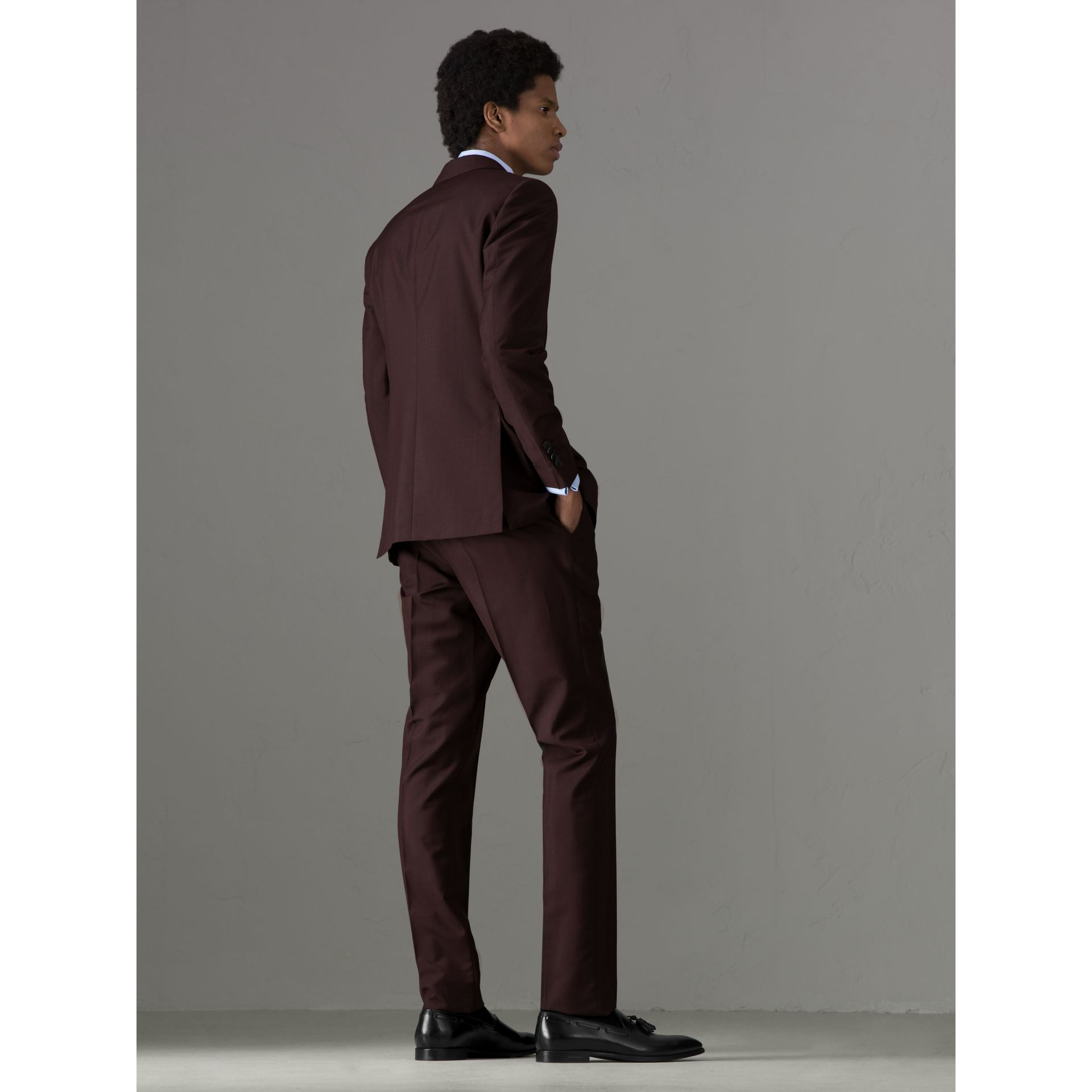 Soho Fit Puppytooth Wool Mohair Suit in Burgundy - Men | Burberry - gallery image 2