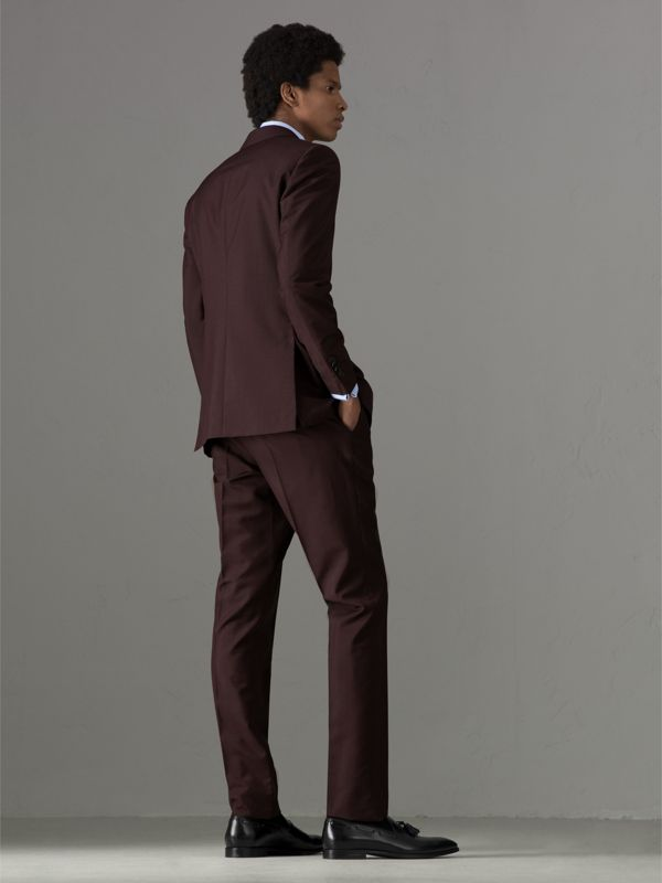 Soho Fit Puppytooth Wool Mohair Suit in Burgundy - Men | Burberry - cell image 2