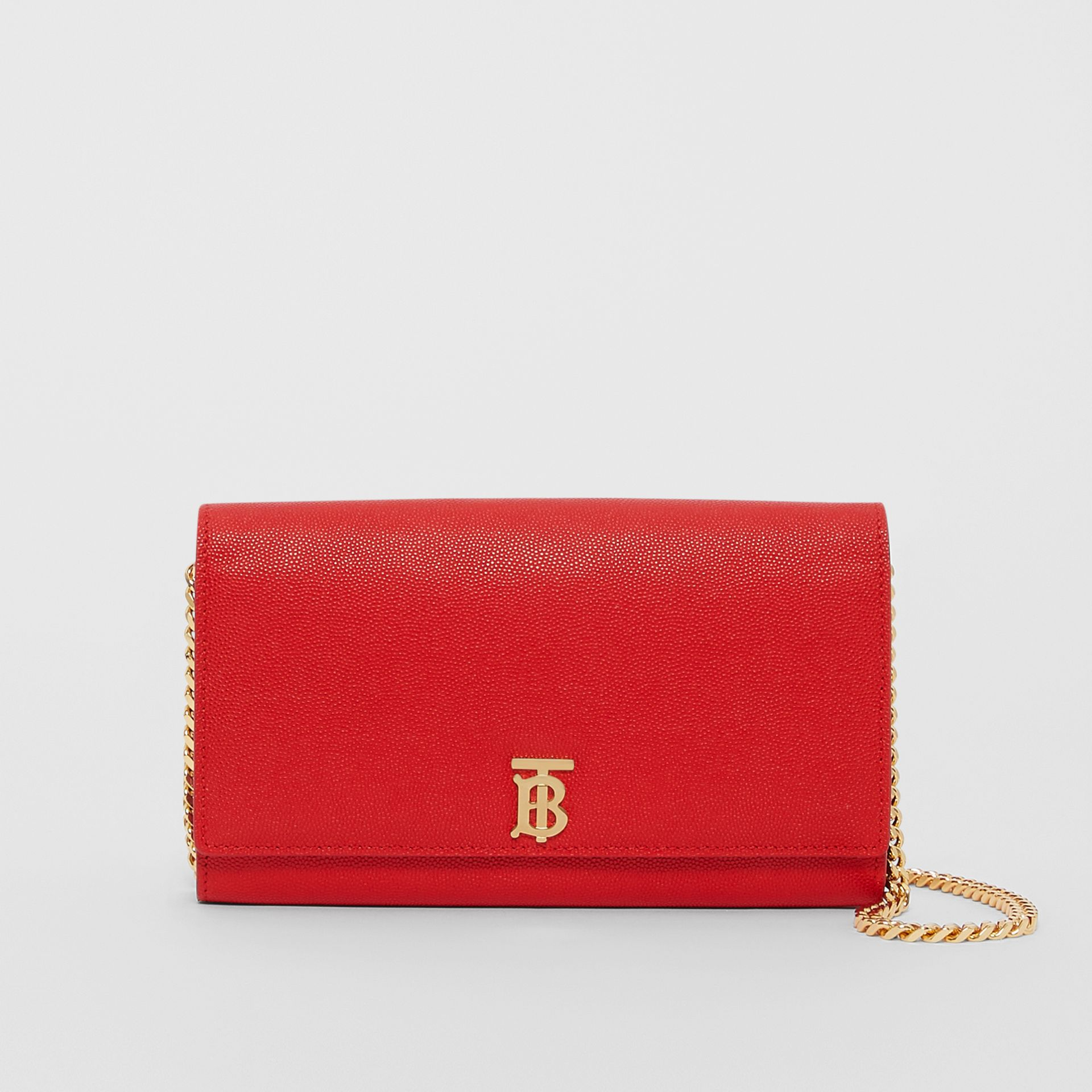 Monogram Motif Leather Wallet with Detachable Strap in Bright Red - Women | Burberry - gallery image 0