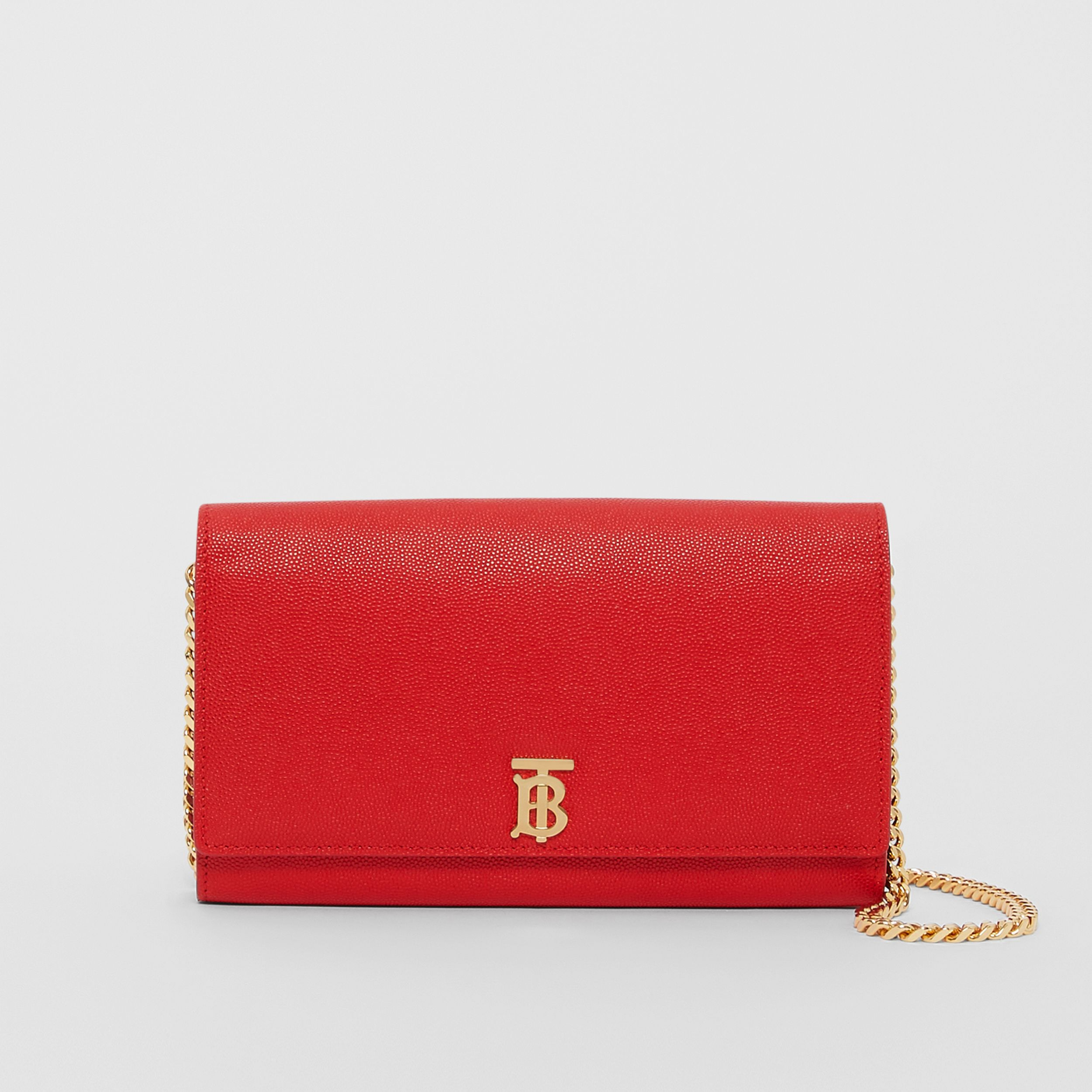 Monogram Motif Leather Wallet with Detachable Strap in Bright Red - Women | Burberry - 1