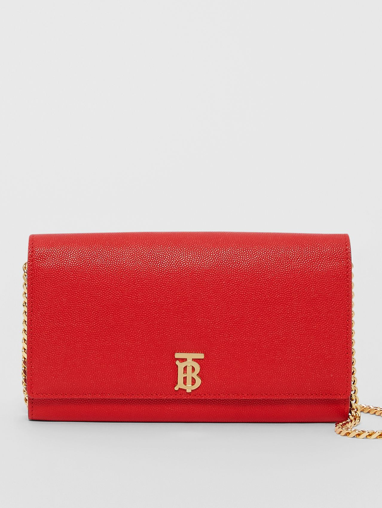 Monogram Motif Leather Wallet with Detachable Strap in Bright Red