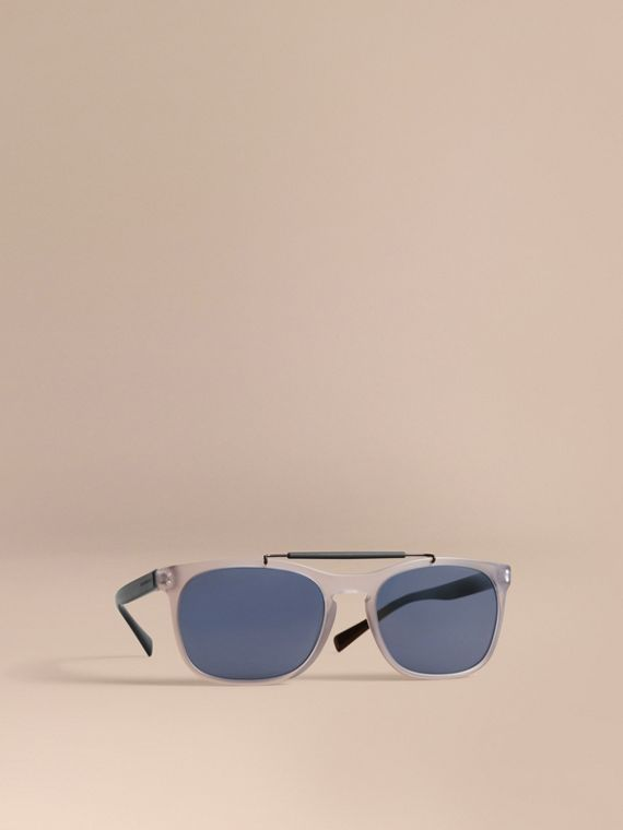 Top Bar Square Frame Sunglasses in Mineral Grey - Men | Burberry
