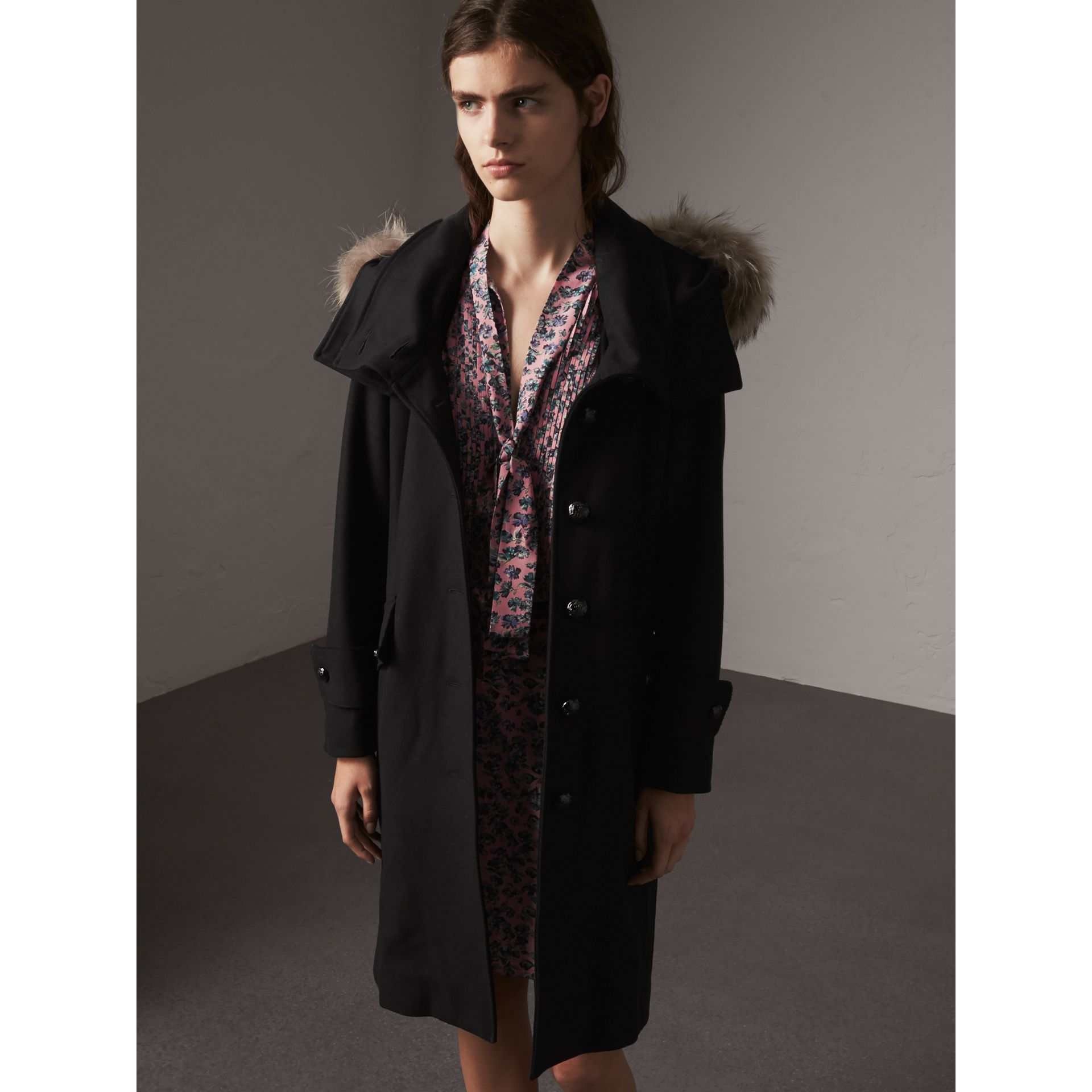 Hooded Wool Blend Coat with Detachable Fur Trim in Black - Women | Burberry United Kingdom - gallery image 6