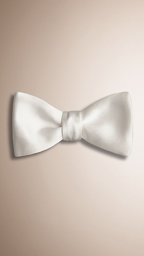 White Classic Silk Bow Tie - Image 1