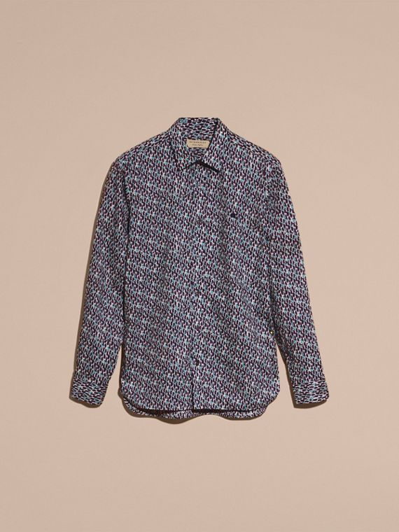 Bright navy Painterly Dash Print Cotton Shirt Bright Navy - cell image 3