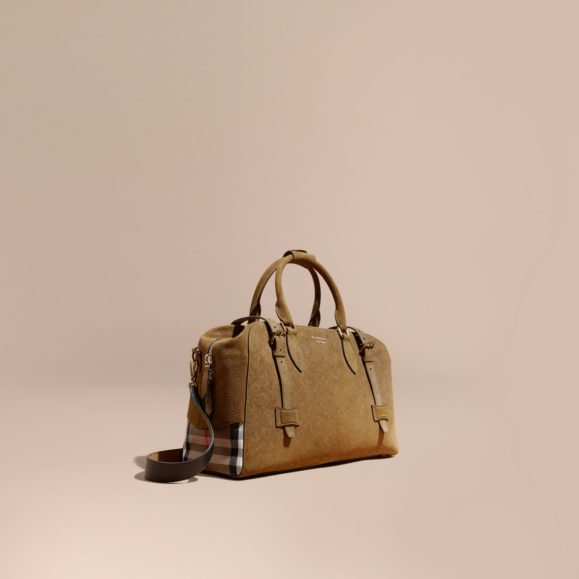Textured Suede and House Check Detail Holdall - gallery image 1