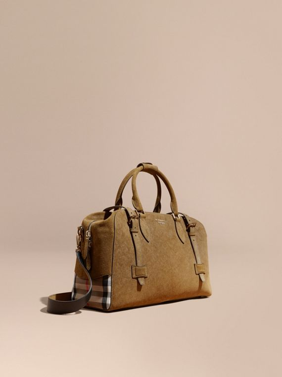 Textured Suede and House Check Detail Holdall