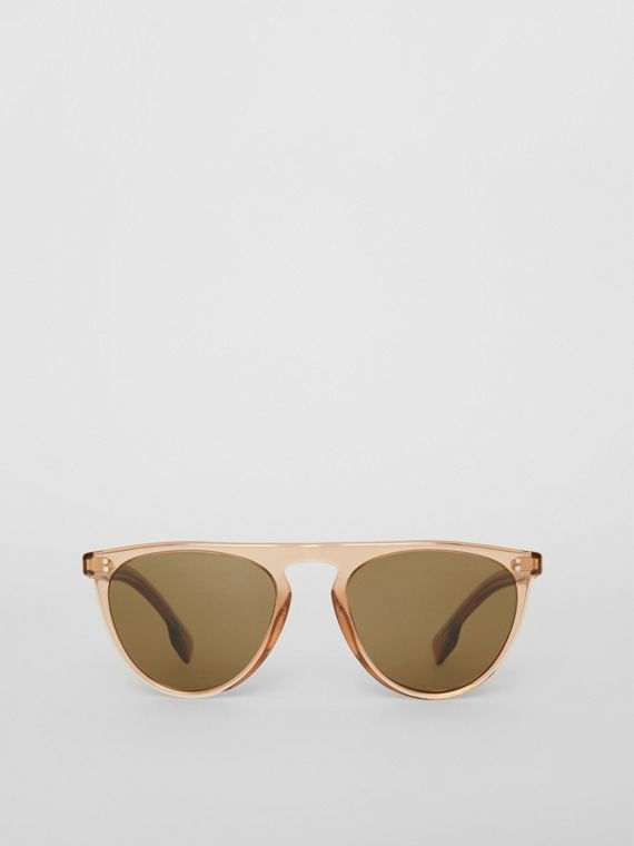 Keyhole D-shaped Sunglasses in Brown