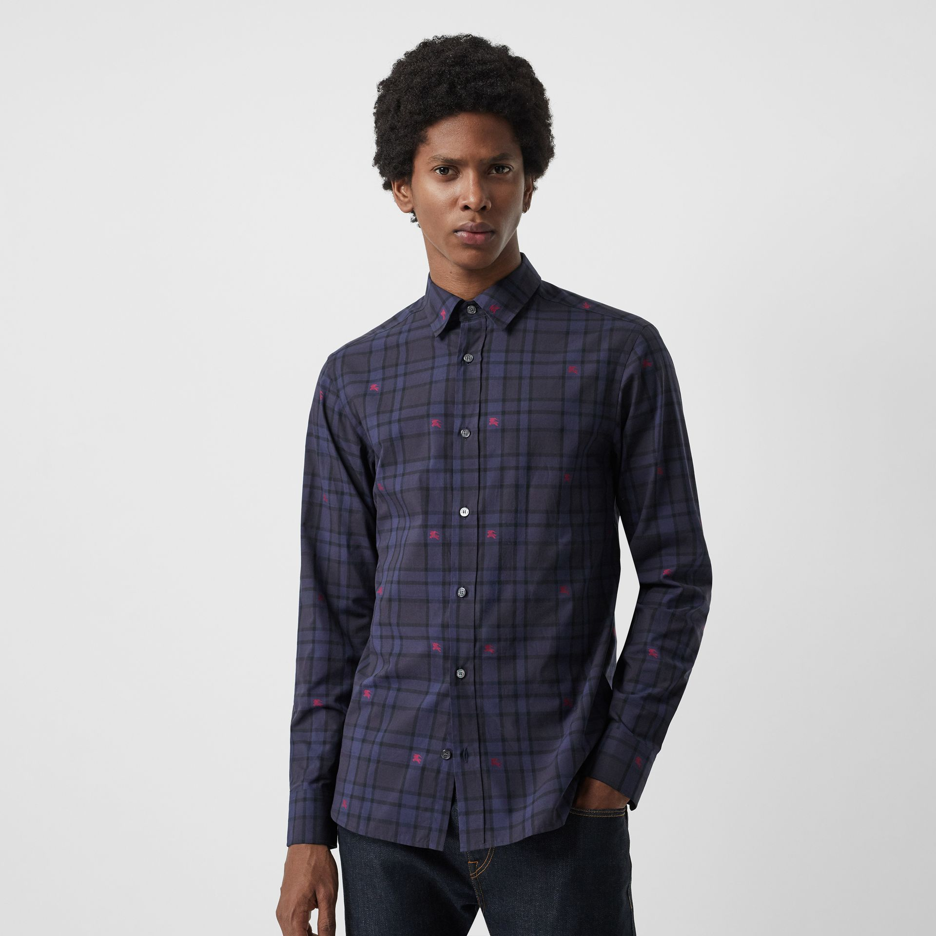Equestrian Knight Check Cotton Shirt in Dark Indigo - Men | Burberry Singapore - gallery image 0