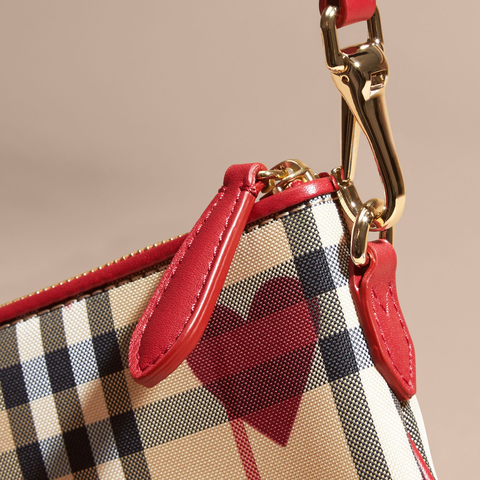 Parade red Heart Print Check and Leather Clutch Bag Parade Red - gallery image 2