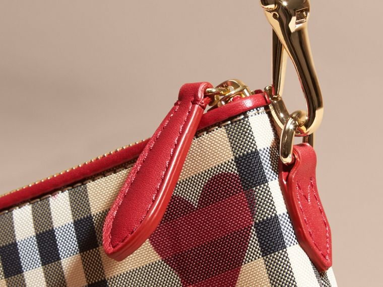Parade red Heart Print Check and Leather Clutch Bag Parade Red - cell image 1