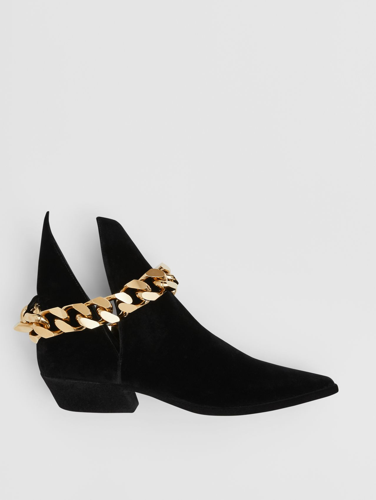 Chain Detail Leather Ankle Boots in Black