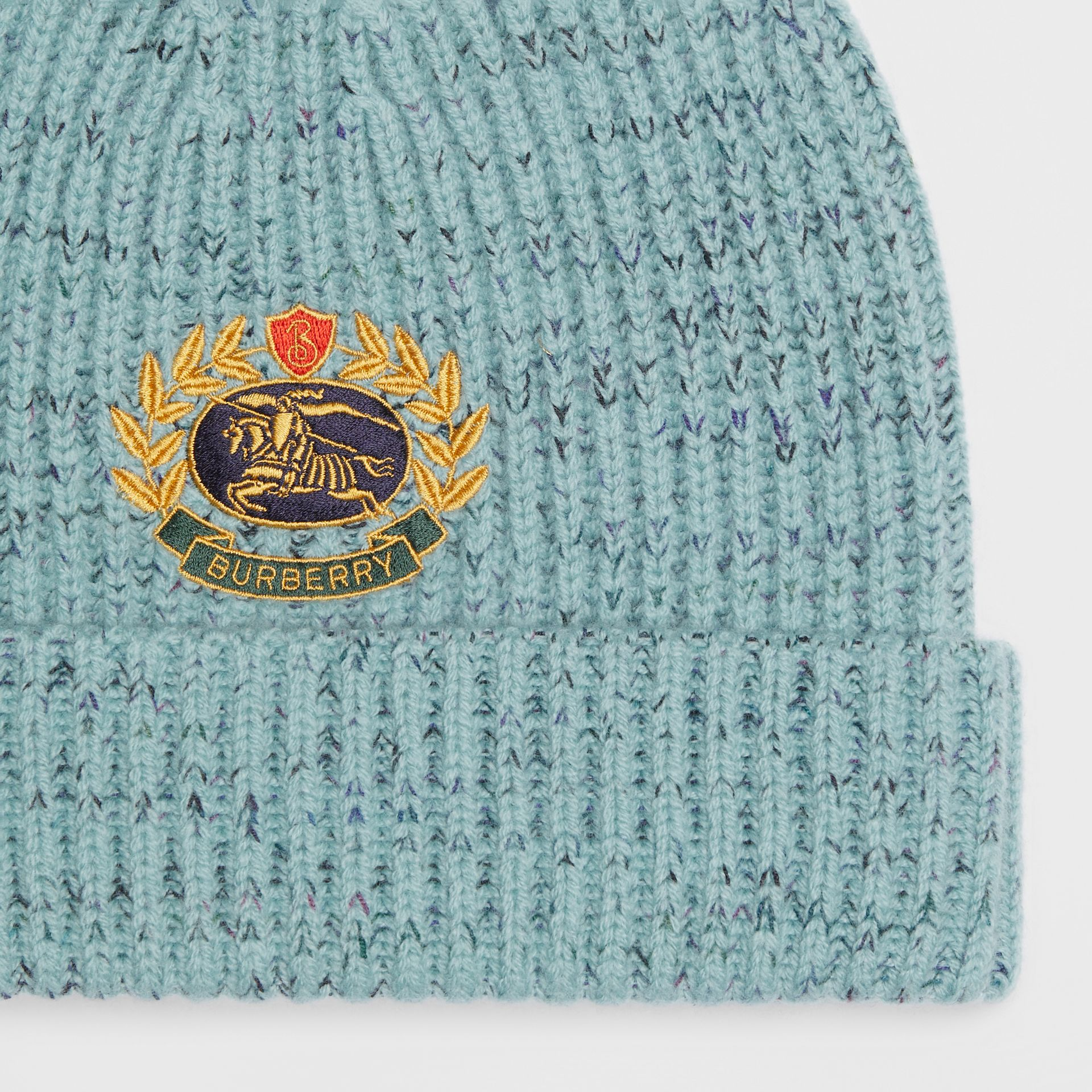 Embroidered Archive Logo Wool Blend Beanie in Blue Topaz | Burberry United Kingdom - gallery image 1